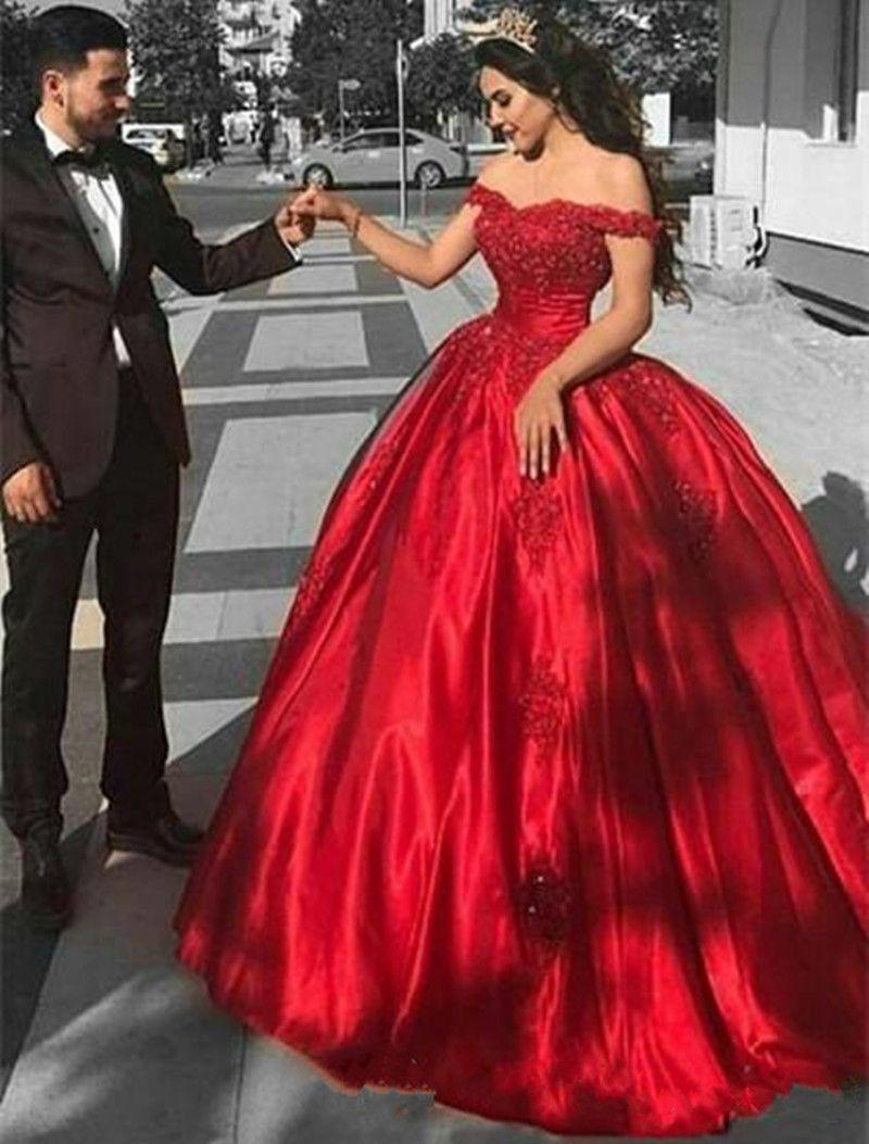 2018 Nuevo vestido de bola roja vestidos de novia con el tren sin mangas del hombro tren Apliques con cuentas Apliques Sexy Vestido de Festa Vestidos nupciales