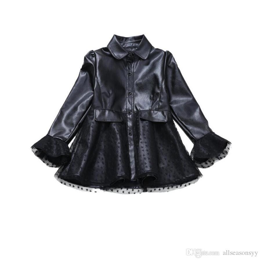 2018 Bambini Giacca Di Pelle Per Le Ragazze Primavera Abbigliamento In Pizzo Manica Lunga Cappotto Artificiale Big Girl Moda Giacca A Vento Cappotto