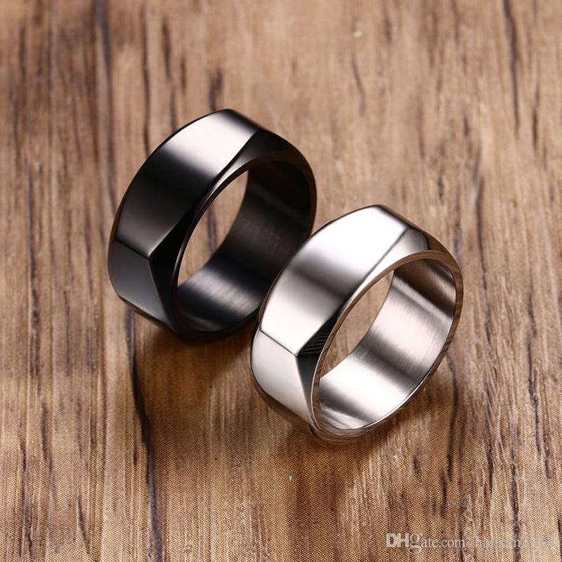 8MM anneaux en acier au titane pour les anneaux des hommes de mode en acier inoxydable 316L punk noir bague de mariage bague de fiançailles bague carrée