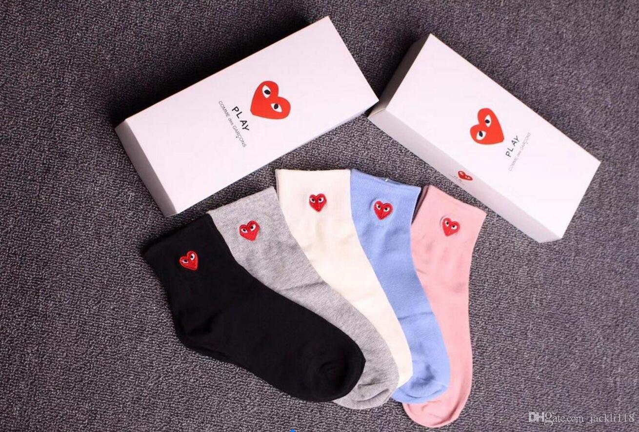 2019 meilleurs mode la plus désirable découvrir les dernières tendances 2018 New RED Heart Socks For Men Women Antibacterial Cotton Cdg Play Ankle  Socks WITH Box Luxury Brand SEXY Socks Underwear From Jackli118, &Price; |  ...