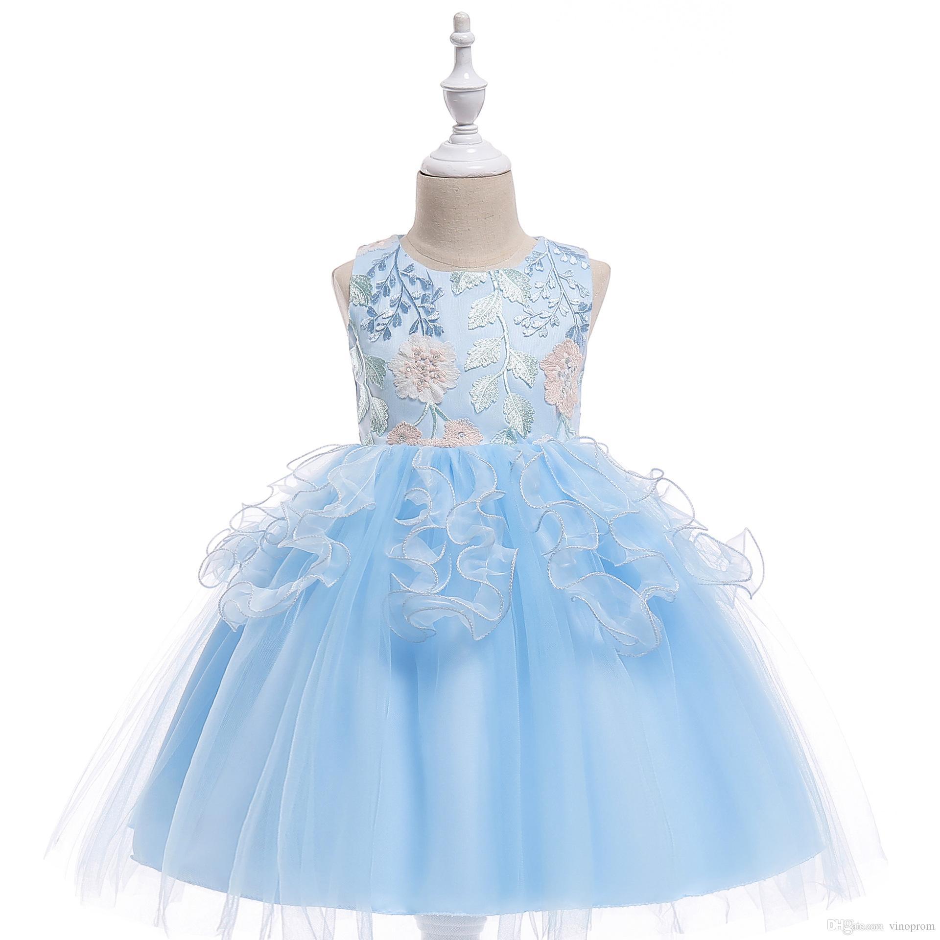 Kids Formal Wear Embroidery Flower Girls Dresses With Rhinestone Ruffled Elegant Children Evening Prom Long Dres