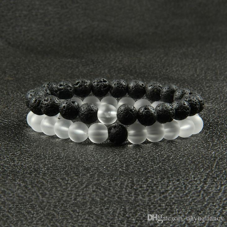 Venta caliente 8mm Clear Glass Beads con Natural Lave Rock Stone Beads Lucky pulseras para hombres y niñas regalo
