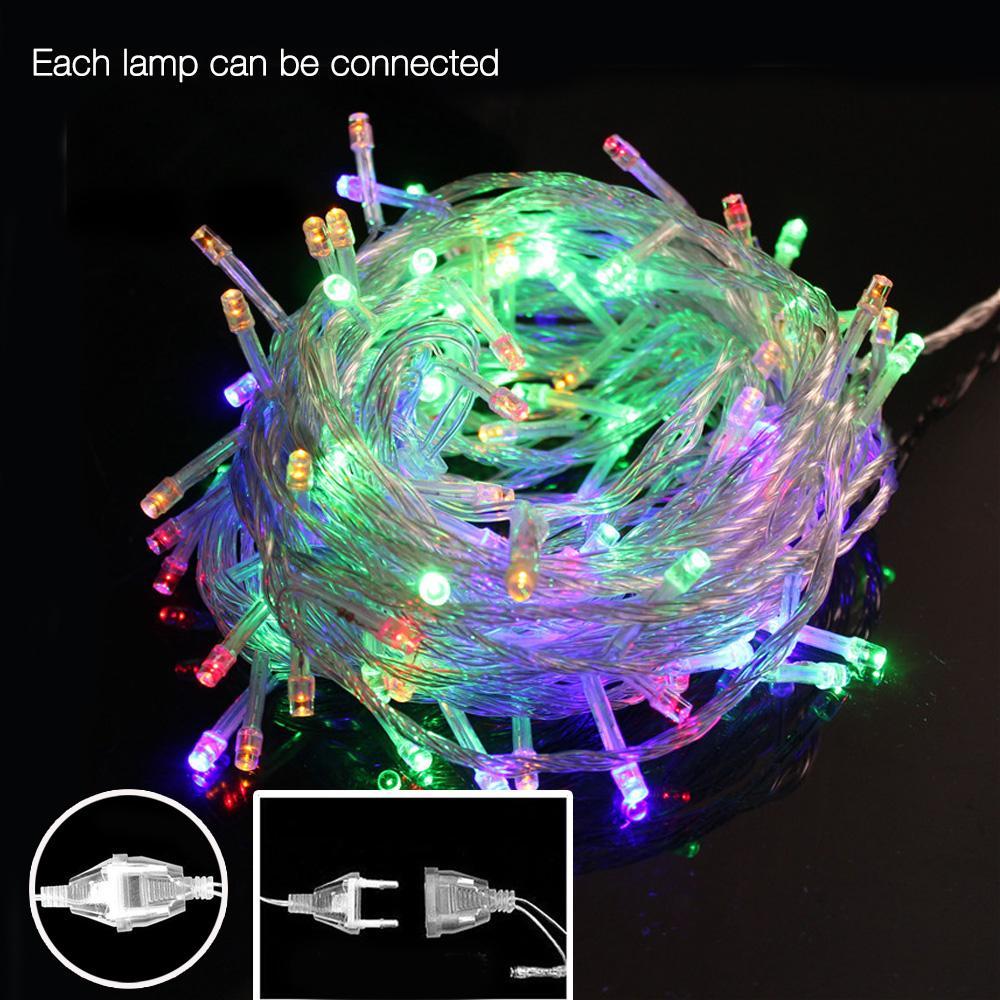 33FT 100 led cordes lumière 10m 220V 110V noël RVB blanc chaud queue UE / US plug vacances décoration de mariage allume guirlande