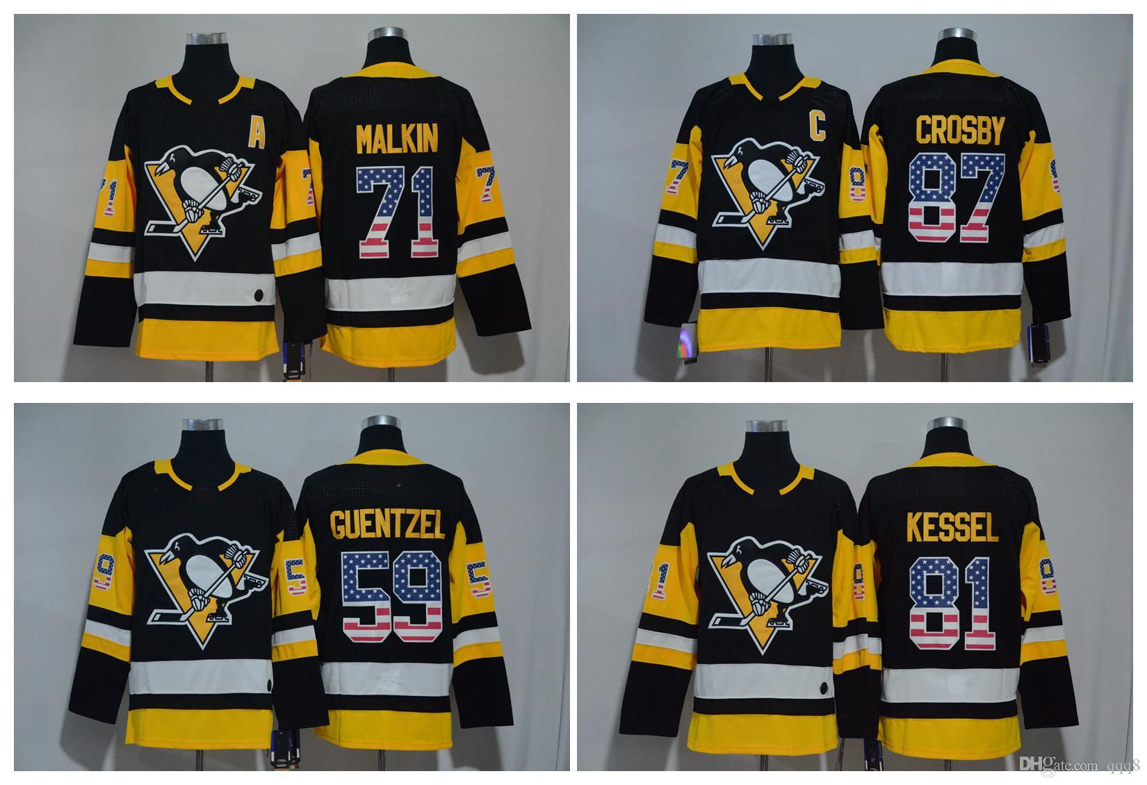 2018 USA Flag Jerseys Pittsburgh Penguins 87 Sidney Crosby 59 Jake Guentzel 71 Evgeni Malkin 81 Phil Kessel Black Stitched Hockey Jerseys