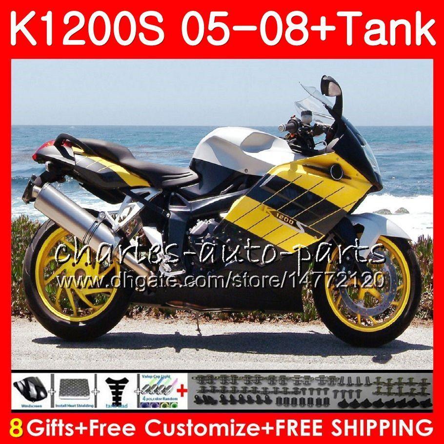 Ciało dla OEM K1200 S K 1200 S 05 10 K1200S Yellow Silver 05 07 07 08 09 10 103HM.9 K-1200S K 1200S 2005 2006 2007 2008 2009 2010 Kit