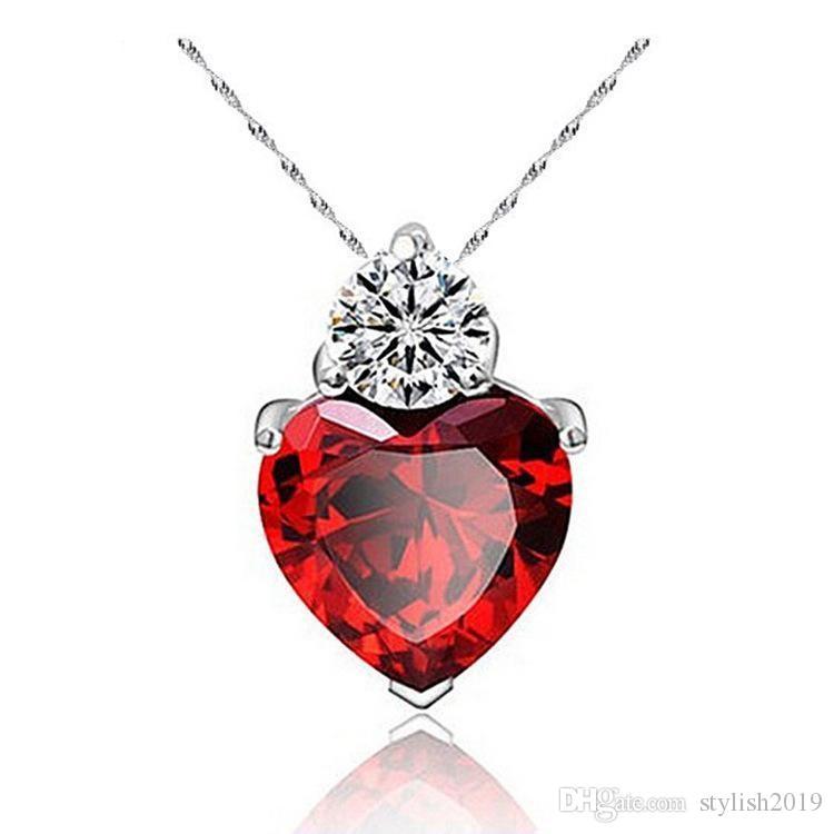 NUOVA collana di cristallo austriaca di moda femminile di alta qualità placcato argento cristalli granato a forma di cuore di gioielli zircone per donna a957