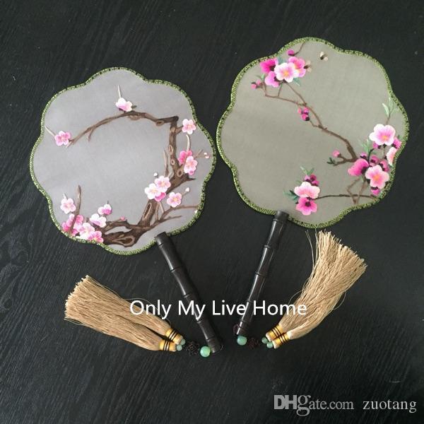 Flores de cerejeira Tecido De Seda Natural Ventilador Tradicional Completa Feitos À Mão Duplo Bordado Chinês Fã De Madeira Lidar Com Decoração Do Casamento Presente Do Ventilador