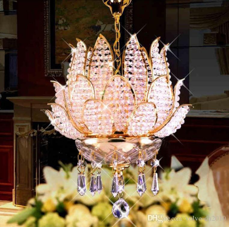 Phube Lighting Lotus Kronleuchter French Empire Gold Kristall Kronleuchter Glanz Chrom Kronleuchter Moderne Kronleuchter Light LLFA
