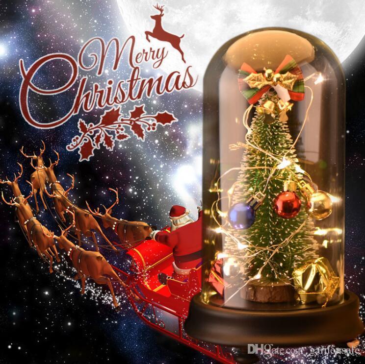 Елочные украшения со светодиодной подсветкой Музыкальная шкатулка в стеклянный купол искусственные поддельные растения декор для дома рождественские украшения подарок