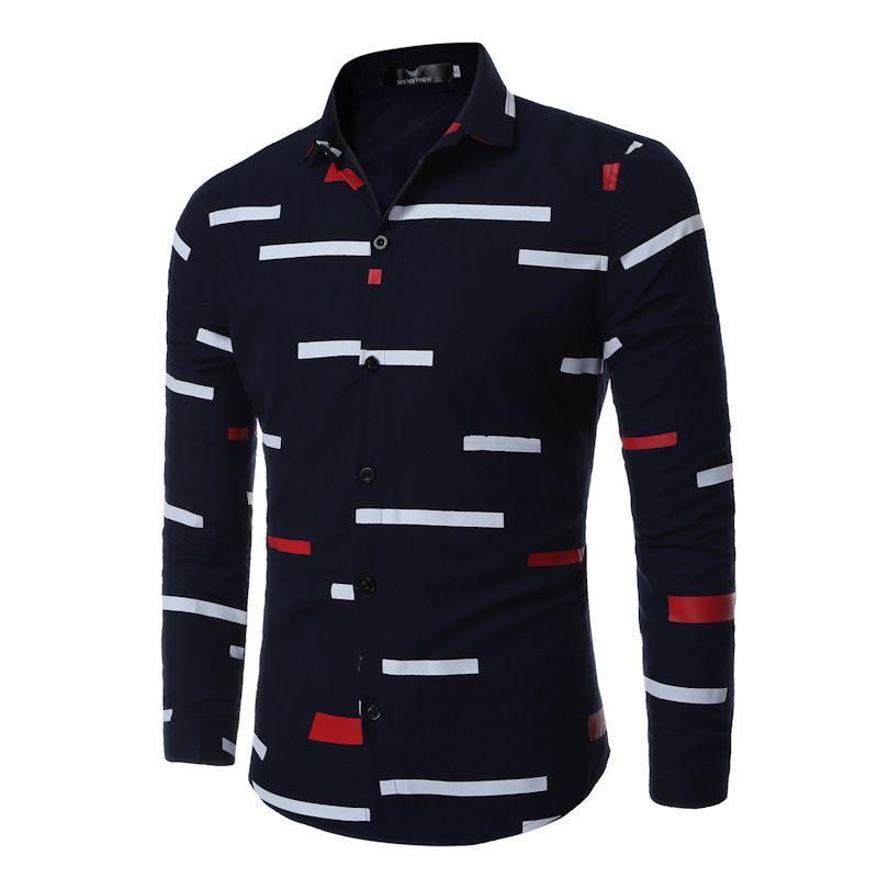 Camisa Casual Hombres 2018 Famosa Marca Hombres Camisa Manga Larga Blanco Negro Patchwork Camisas Slim Fit Camisas de Hombre Social C3068005
