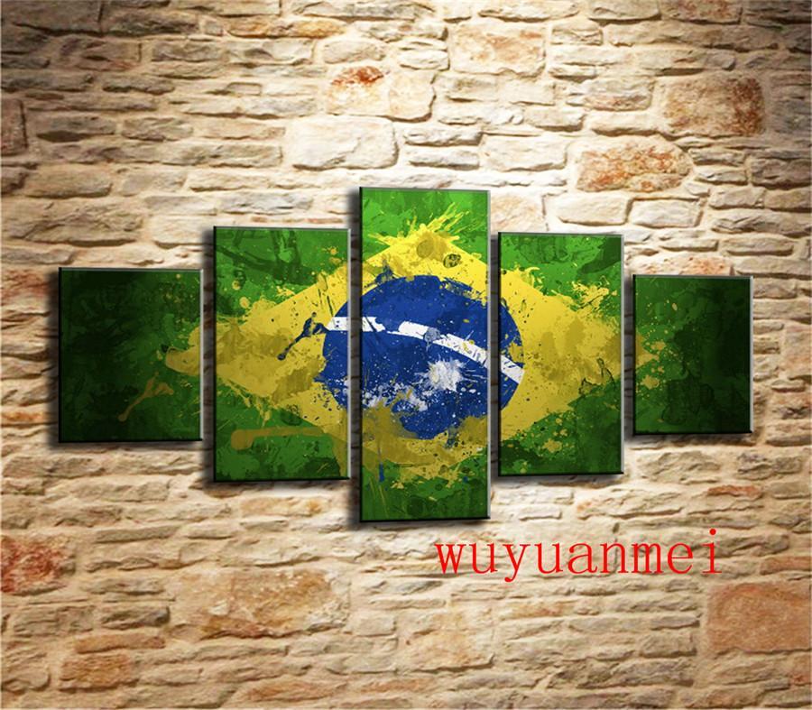 Bandeira do Brasil, 5 Peças Home Decor HD Impresso Pintura Moderna Da Arte na Lona (Sem Moldura / Emoldurado)