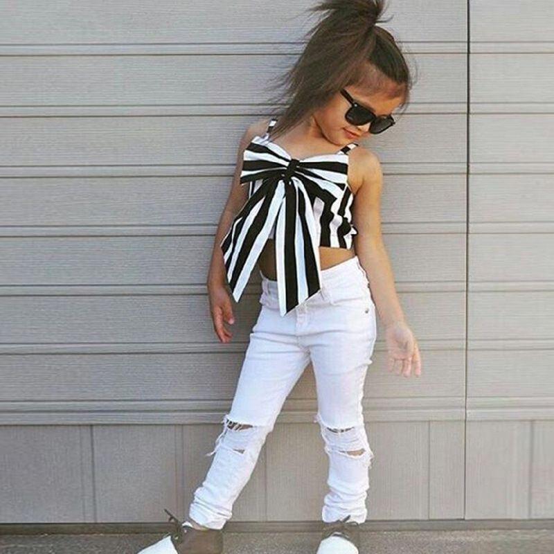 Raya niños moda niñas ropa conjuntos sin mangas niños camisa de impresión rosa + pantalones cortos pantalones vaqueros niños niñas ropa conjuntos