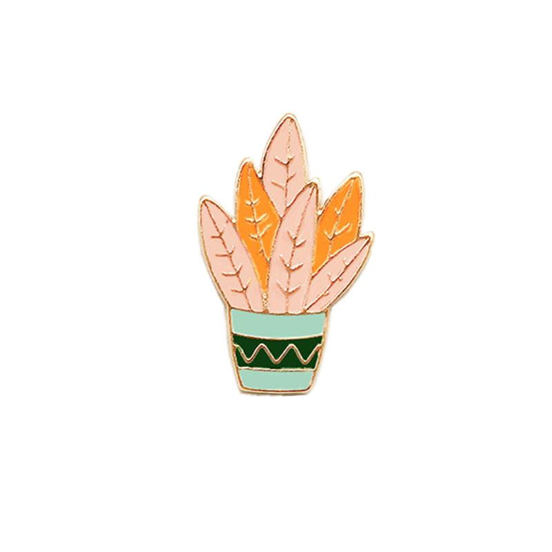 2019 Japanese Forest Plant Cactus Flower Oil Dripping Brooch Grass Flower Pot Creative Insignia Jewelry From Jianaysheng11 439 19 Dhgate Com