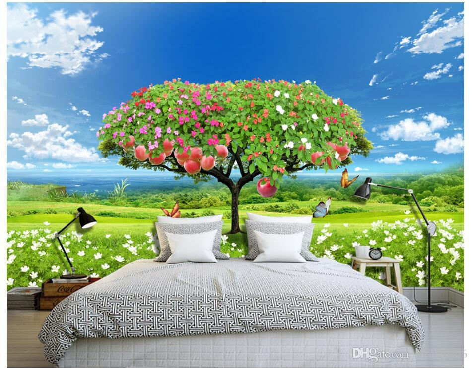 3d Wallpaper On The Wall Custom Photo Fresh Grass Apple Tree Background  Wall Home Improvement Living Room Wallpaper For Walls 3 D Christmas  Wallpapers