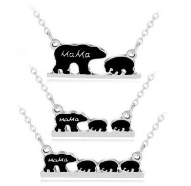 Черная эмаль мама медведь ожерелье серебро золото мать и Сын медведь кулон цепи ювелирные изделия для женщин дети подарок