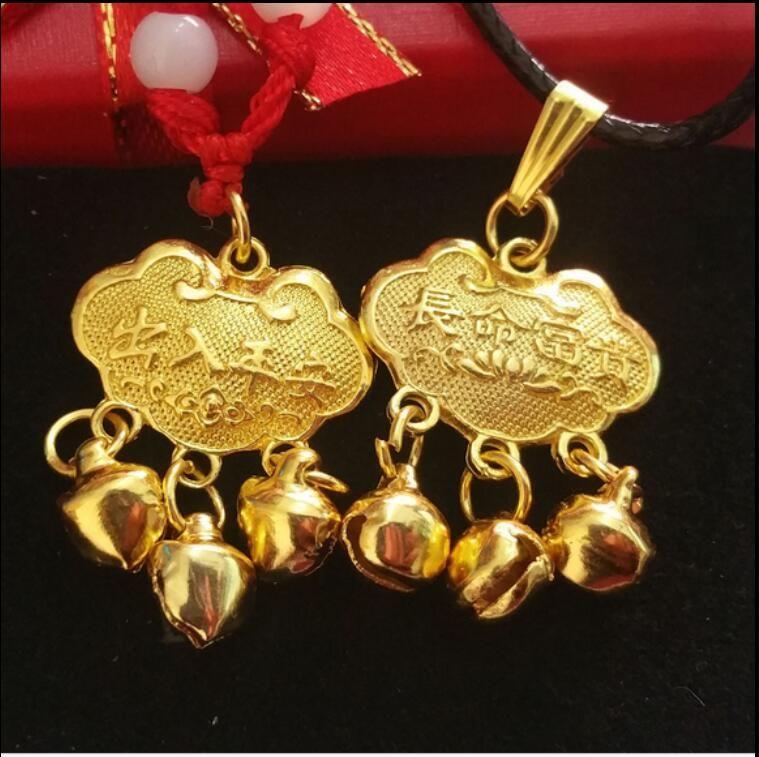 Long life Lock Baby gold plated pendant bell, safe and valuable pendant, safe children's locks, bell pendants