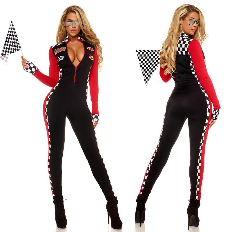 60% Freigabe exklusive Schuhe viele Stile Großhandel Frauen Sexy Rennfahrer Kostüm Racing Mädchen Overall Auto Spiel  Lange Ärmel Uniform Von Caesarl, $38.31 Auf De.Dhgate.Com | Dhgate