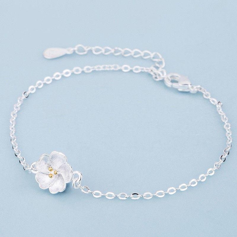 Prata-cor das flores de cerejeira pulseiras flor pulseiras jóias bonito para a menina Mulheres