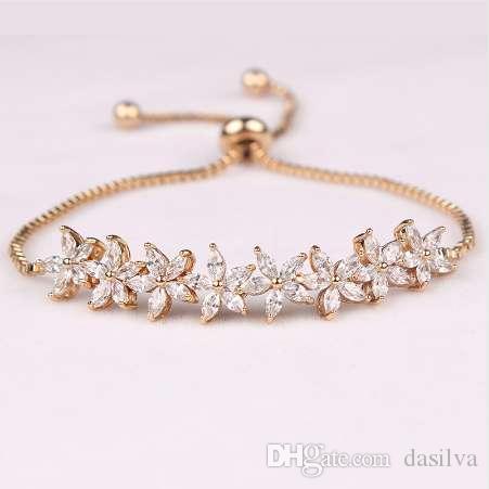 WEIMANJINGDIAN Sparkling Cubic Zirconia Crystal Flower Design Pull-string Zirconium Wedding Bracelets for Girls or Wedding