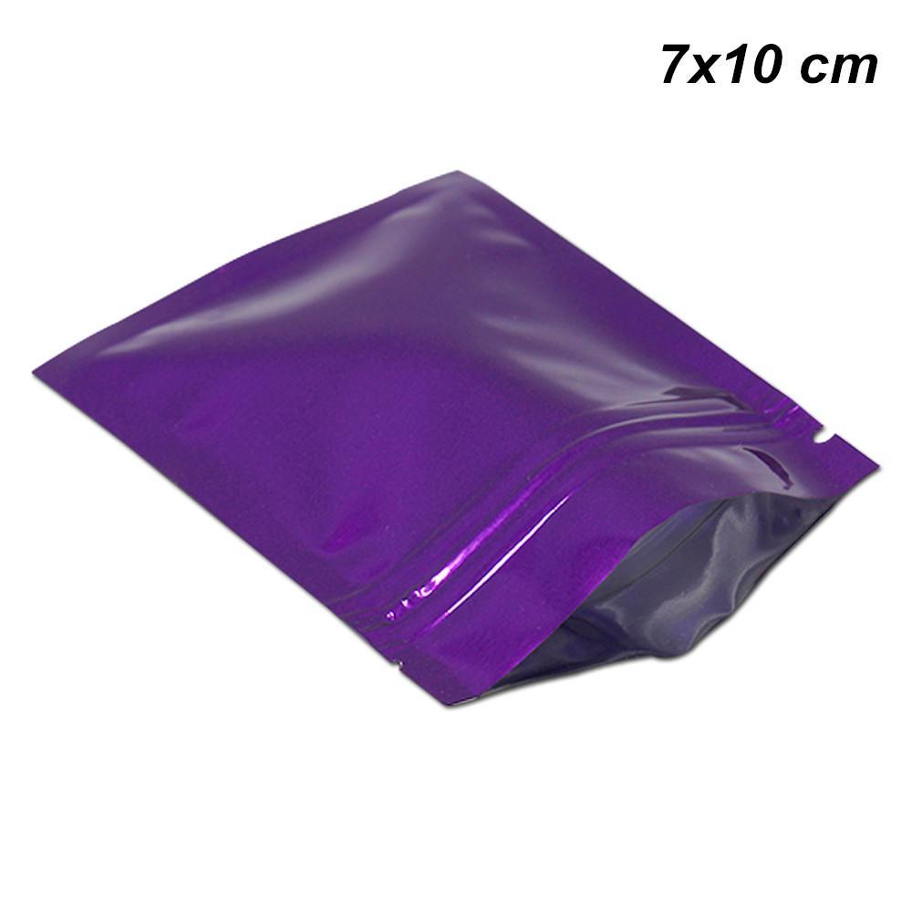 Purple 7x10 cm 100Pcs Lot Zip Lock Zipper Aluminum Foil Food Valve Storage Packaging Bags for Snack Foil Mylar Resealable Food Storage Pouch