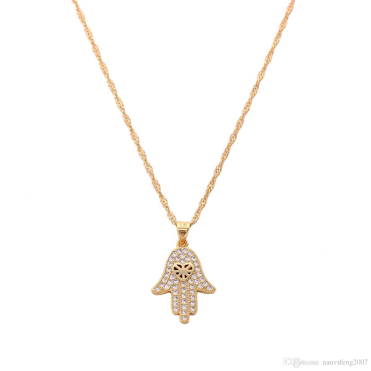 Vergoldete Hamsa Halskette Fatimas Hand Glückliche Hand Anhänger CZ Diamant Halskette