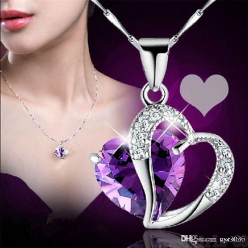 Placa de prata Coração Colar Colar Mulheres Colares de Cristal Pingente de Jóias de Cristal Prótese Ametista Coração Colar Presente