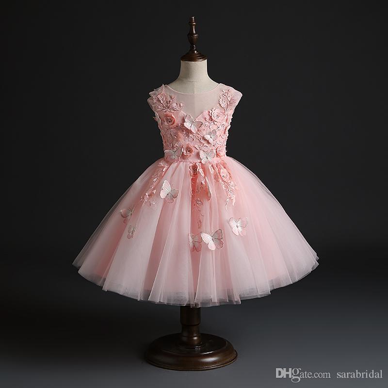 Compre Lujo Imagen Real Vestidos Para Niños Pequeños Joya Apliques De Flores Mariposa Niños Fiesta Formal Vestido De Fiesta Vestido De Niña De Flores