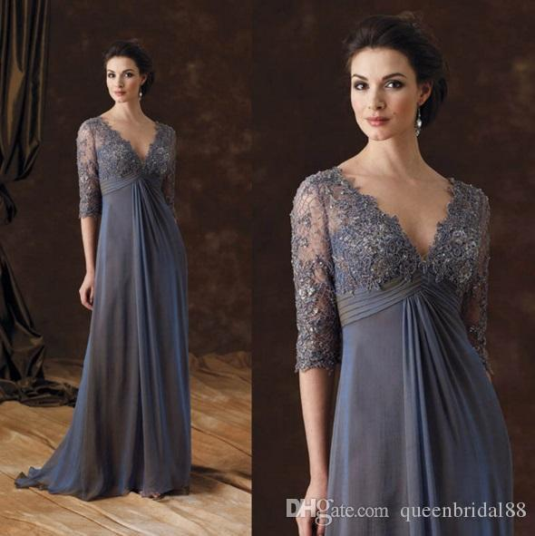 2019 Empire Waist Mother of the Bride Dresses Lace Half Sleeves V Neck Ruched Chiffon Long Wedding Guest Dress
