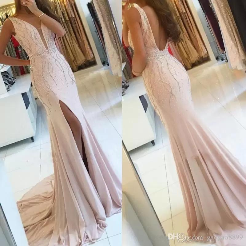 Pearl pink 2019 Sexy Side Split Prom Dresses with Beaded Open Back Long Pageant Party Mermaid Formal celebrity Evening Gowns