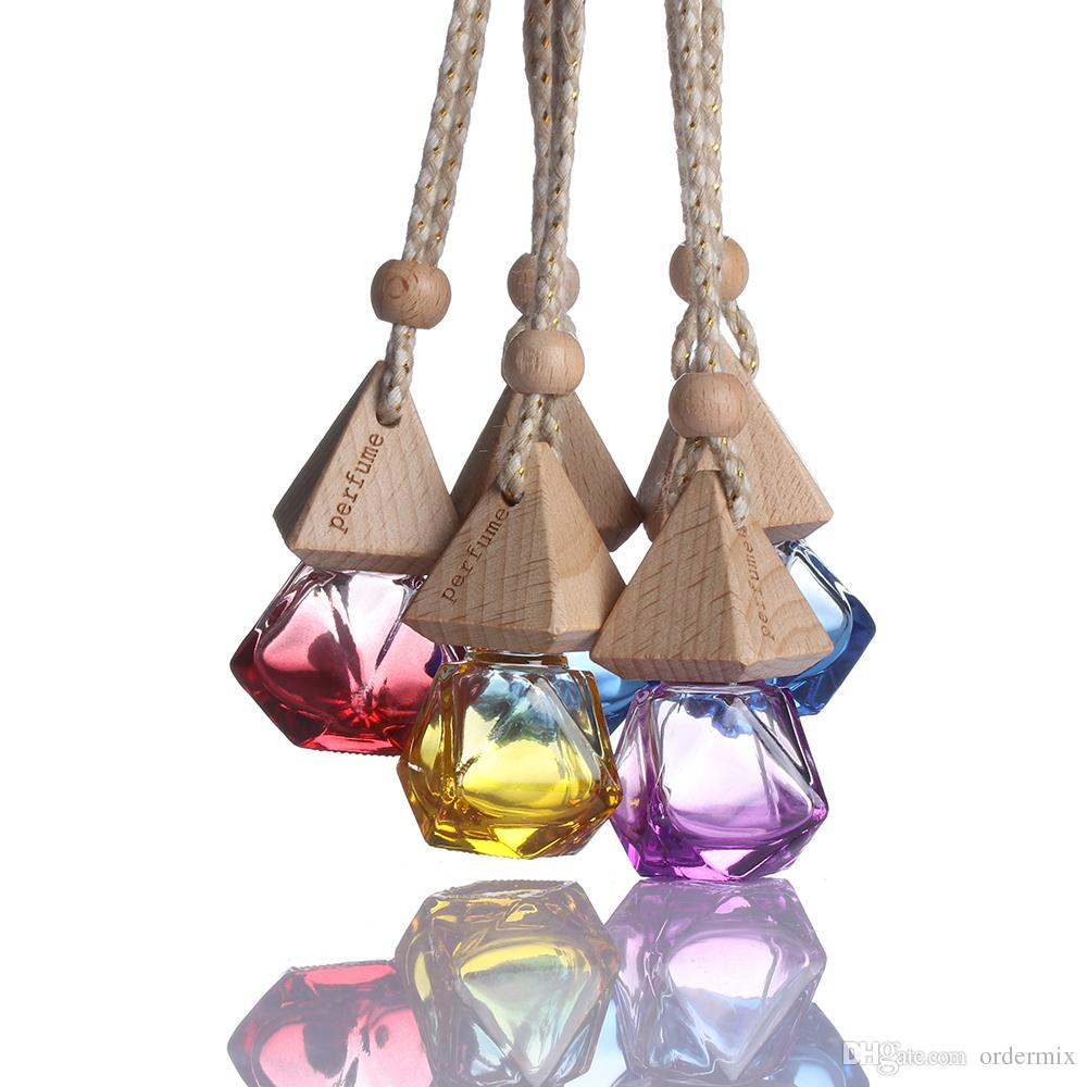 Random Color!! 1 Pcs 2018 New Hot Air Freshener Car Hanging Diffuser Empty Glass Perfume Fragrance Bottle Gift