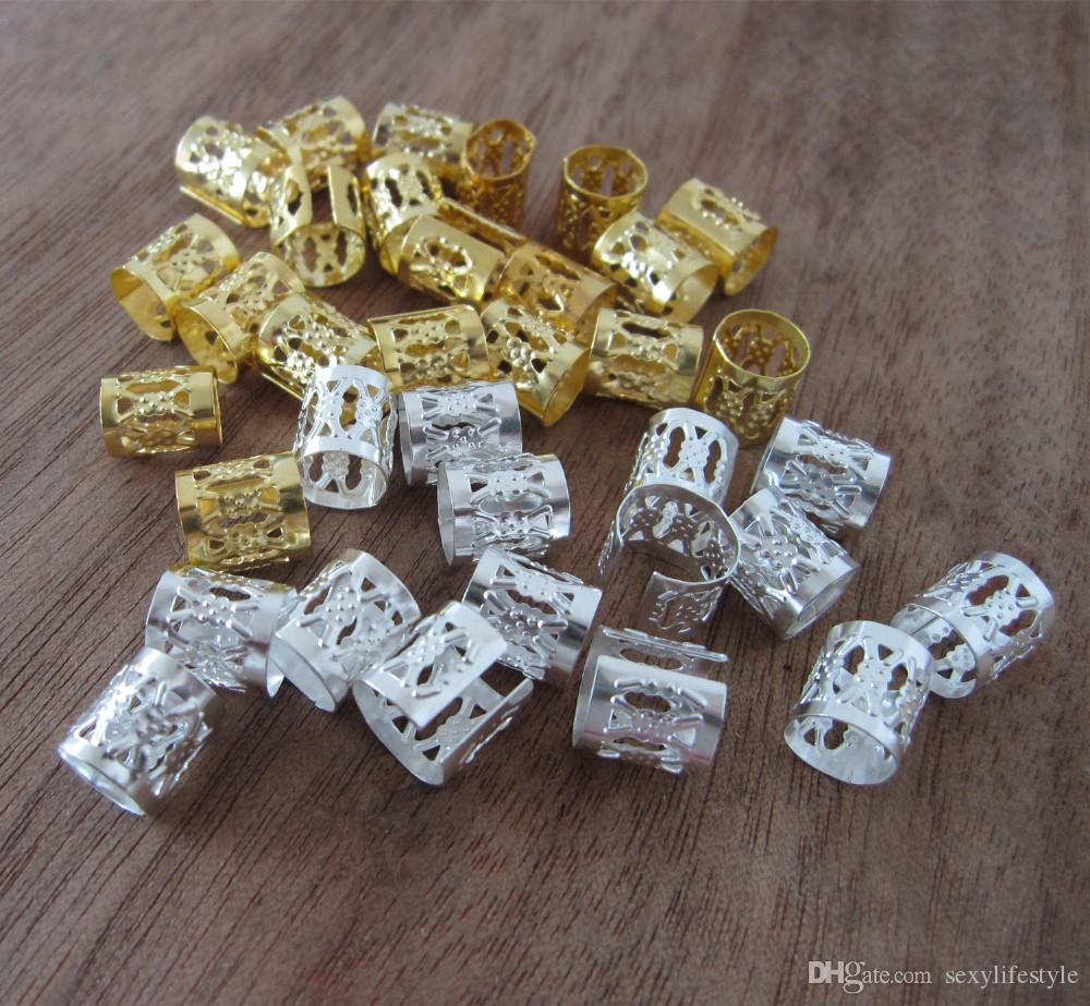 100 goldene und silberne gemischte Dreadlock-Perlen verstellbare Haare Braid Manschette Clip 8mm Loch