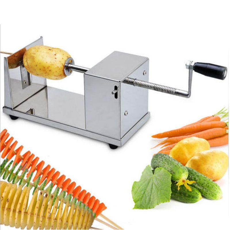 Manual Potato Spiral Slicer Cutter Vegetable Slicer Twist Potato Spiral Cutter Stainless Potation Spiral Machine Kitchen Gadgets