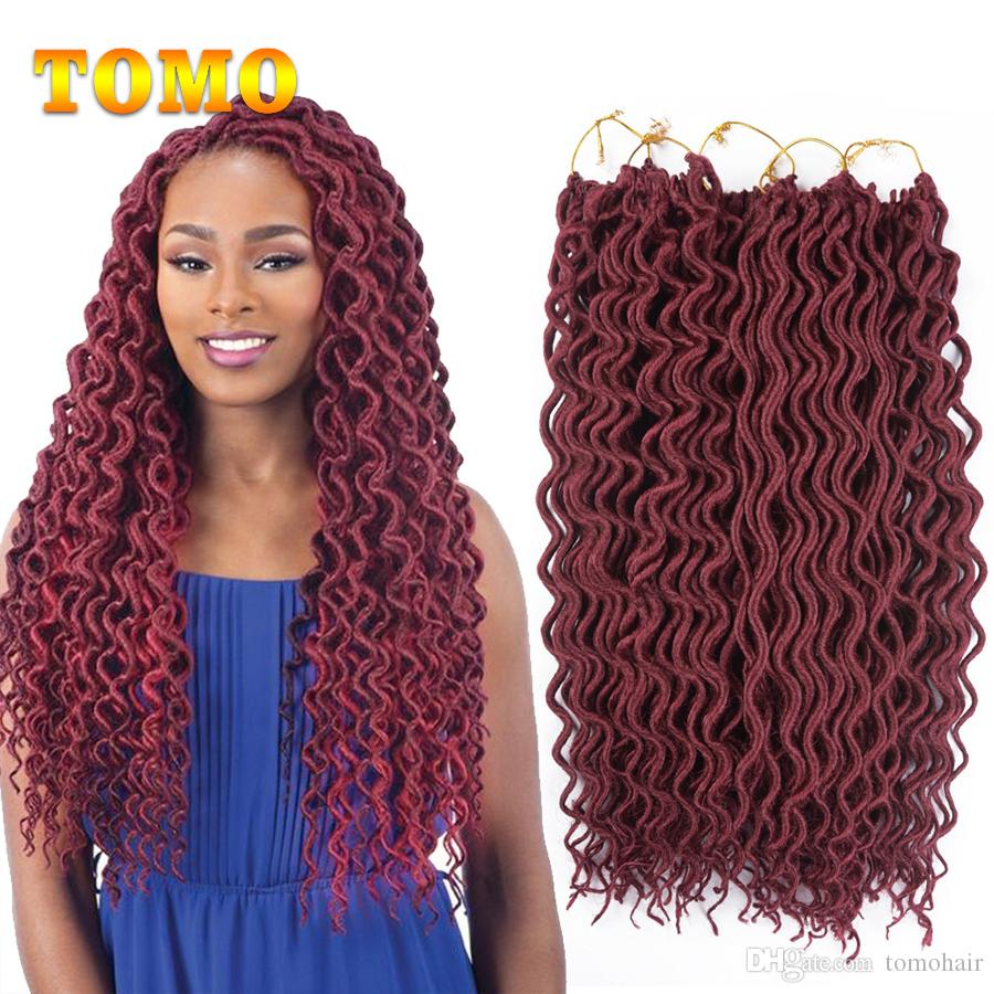 TOMO 18Inch Goddess Faux Locs Crochet Wavy Hair Pure/Ombre Curly Kanekalon Synthetic Dreadlocks Hair Extensions For Black Woman 24Roots/pack