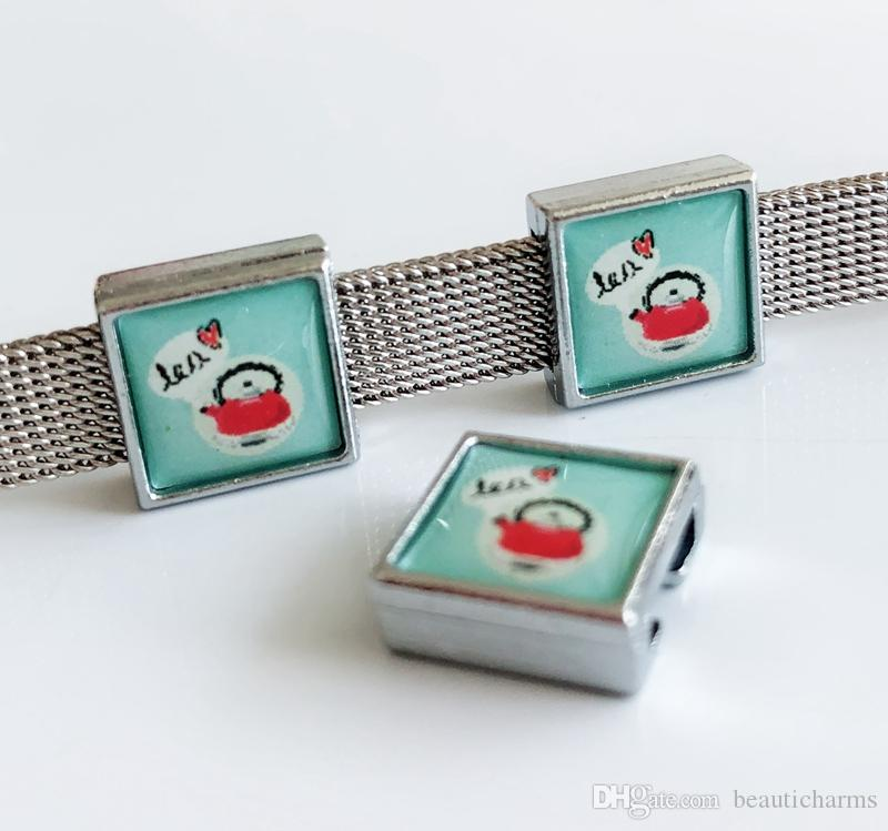10pcs 8MM Tea pot Plastic Drop Square Plated Slide Charms Beads DIY Accessories Fit 8mm Collar Belts Bracelets