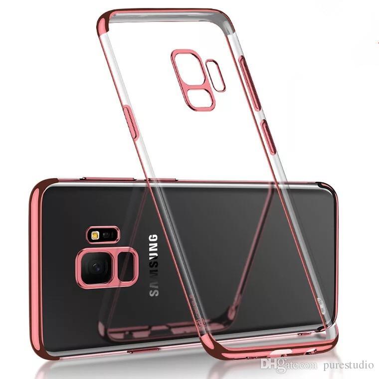 Slim Clear Soft Elastyczne etapy TPU Cover dla Galaxy S8 S9 Plus, Elektropated Teleft Case