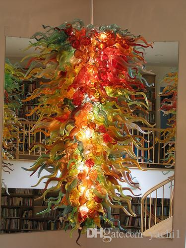 Large Luxury Hand Blown Glass Chandelier Light Modern Art Decoration Italy Designed Chihuly Style LED Chandelier for Sale