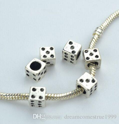 100 قطعة / الوحدة التبت الفضة الحفرة الكبيرة النرد فاصل الخرز سحر لصنع المجوهرات 7 ملليمتر حفرة 4 ملليمتر