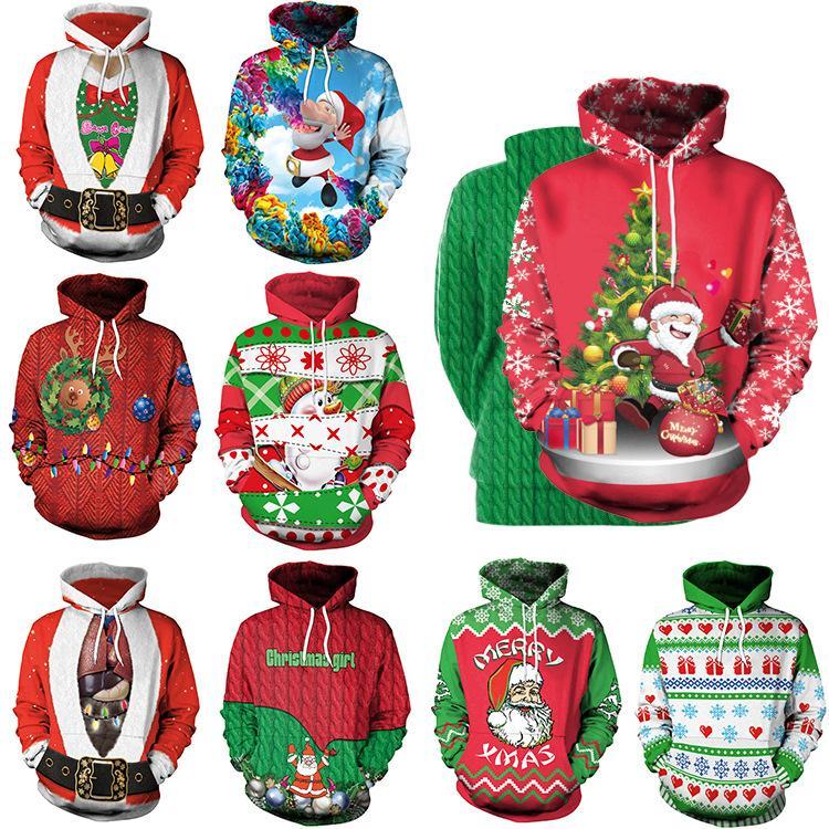 Felpe con cappuccio Natale Albero di Natale santa Clus stampato a maniche lunghe camicetta felpa con cappuccio t-shirt casual pullover abbigliamento casa GGA1257