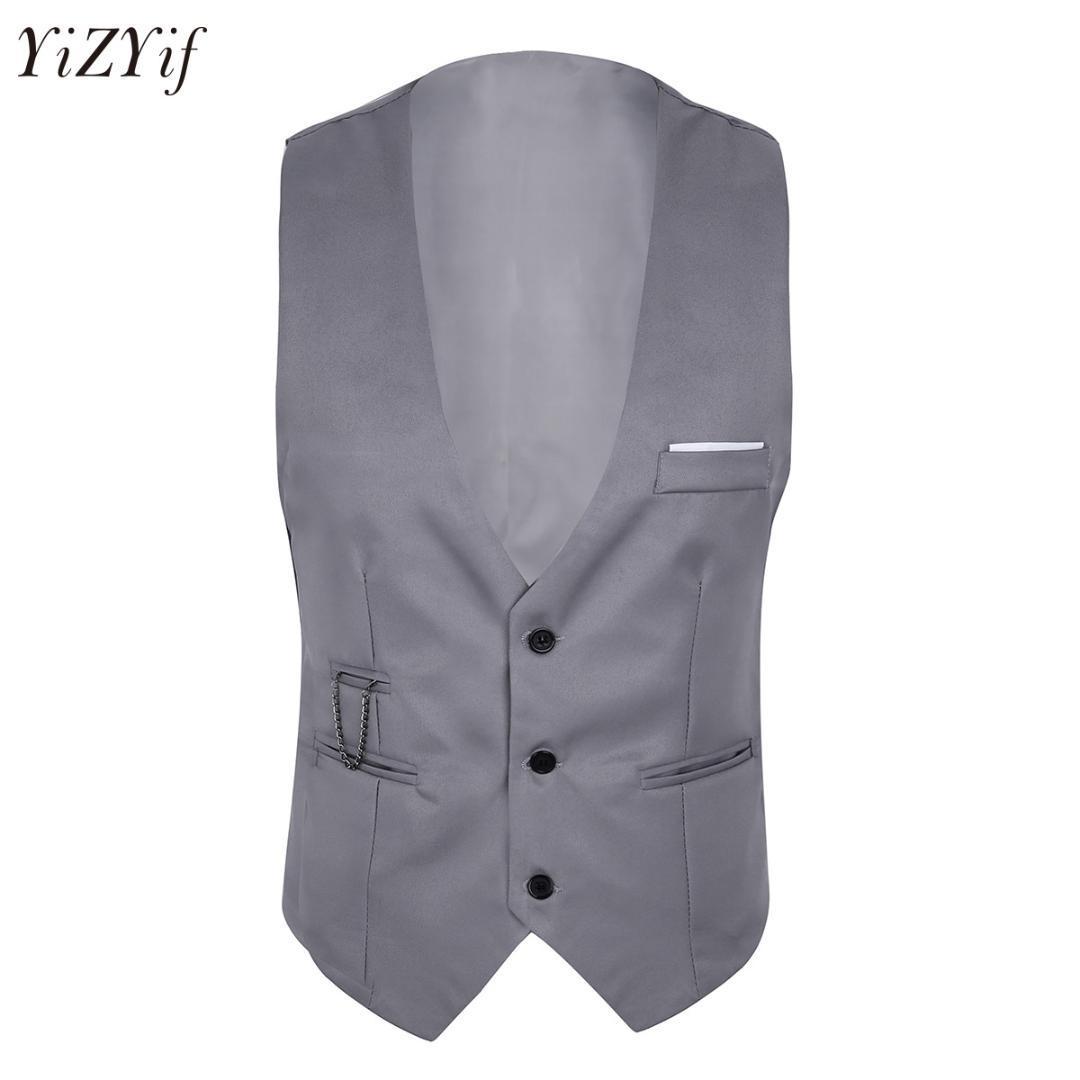 Erkek Slim Fit Suit Yelek Kolsuz Düğme Aşağı Resmi Iş Elbise Suit Slim Fit Ceket Erkekler Ayrı iş Yelek