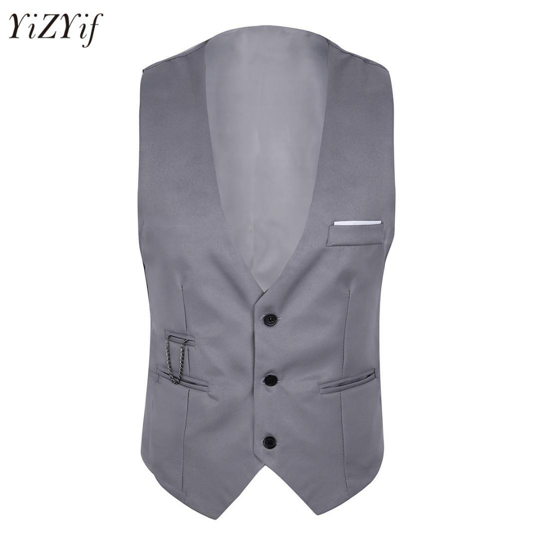 Mens Slim Fit Suit Vest Sleeveless Button Down Formal Business Dress Suit Slim Fit Jacket Men Separate business Waistcoat