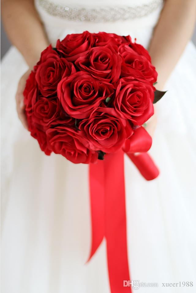 Bouquet Sposa Con Rose Rosse.Acquista Bouquet Da Sposa Rosso Bouquet Da Sposa Artificiale Fiori