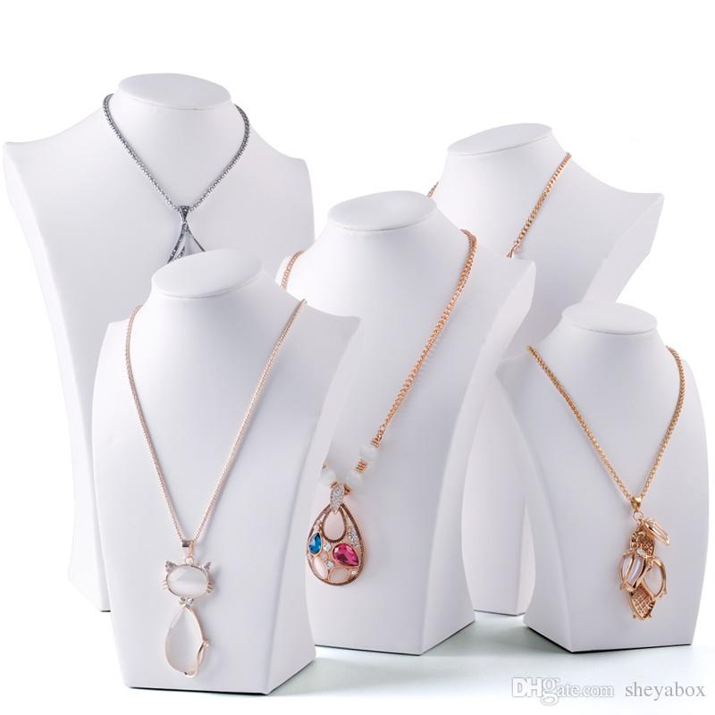 White Faux Leather Necklace Bust Tall Jewelry Chain Display Stand Neck Form for Boutique Shop Window Shelf Exhibition Counter Top Displays