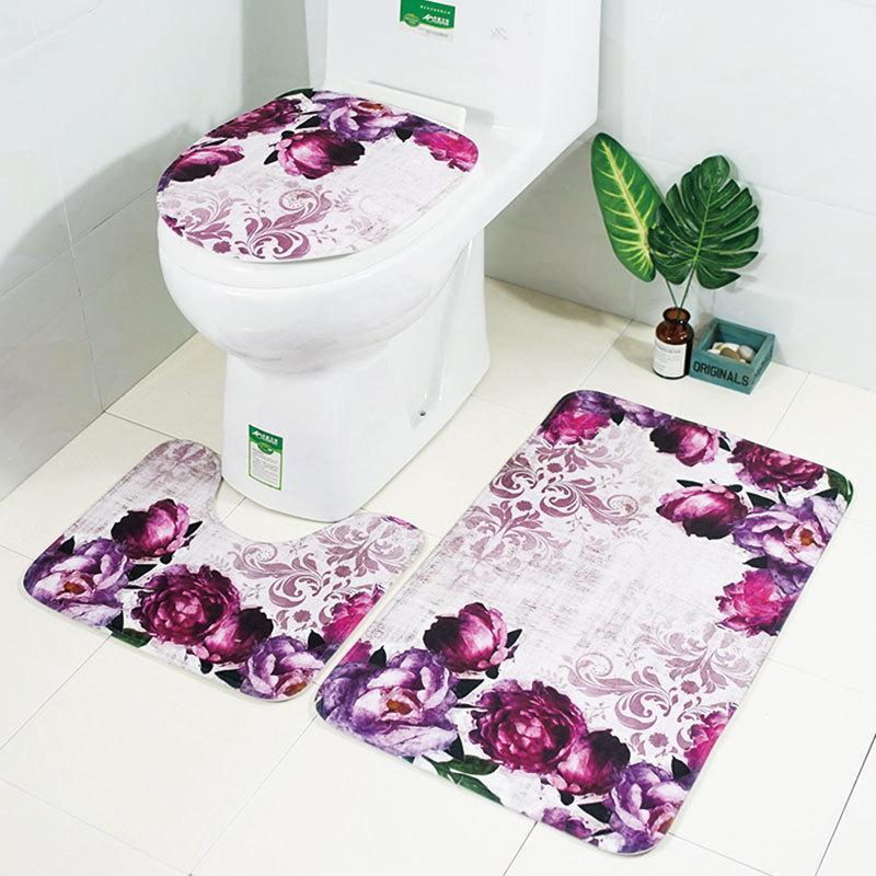 Zeegle Floral 3 Pcs Tapete Tapete Do Banheiro Tapete Do Banheiro Anti-slip Tapetes Tampa de Assento Do Toalete Do Banheiro Tapete de Banho Higiênico conjunto