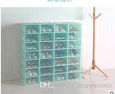 Transparent Plastic Shoes Storage Box Japan Style Drawer Style Clear Shoes Organizer Female Male Shoes Case