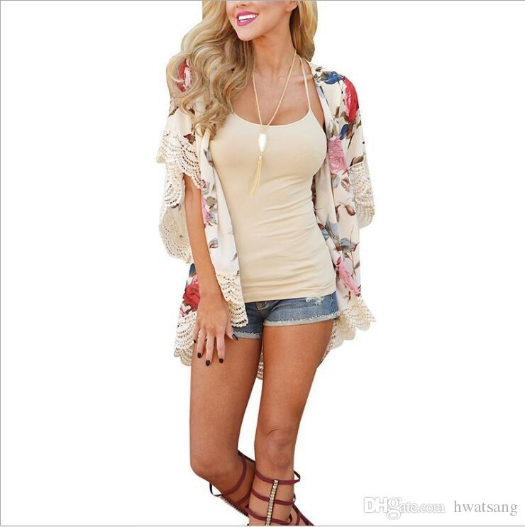 Loose Women Cardigan Spring Autumn Floral Printed Lace Bottom Womens Cape Open Front Tops Women Clothes Outwear Coats