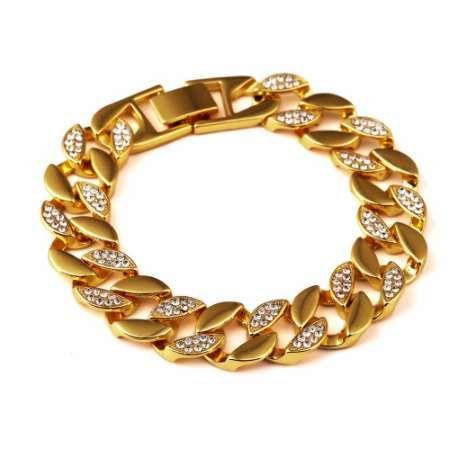 Высокое качество браслеты оттаявшим хип-хоп браслет мужчины Майами кубинский браслет мужская роскошь имитация Bling стразами мода браслеты