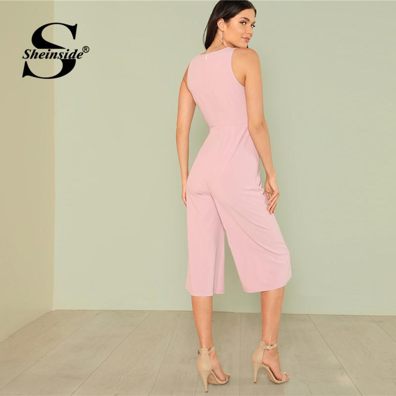 3f92ca01c Sheinside Knot Front Pink Jumpsuit Women Sleeveless Solid Mid Waist Wide  Leg Jumpsuit Ladies Summer Workwear