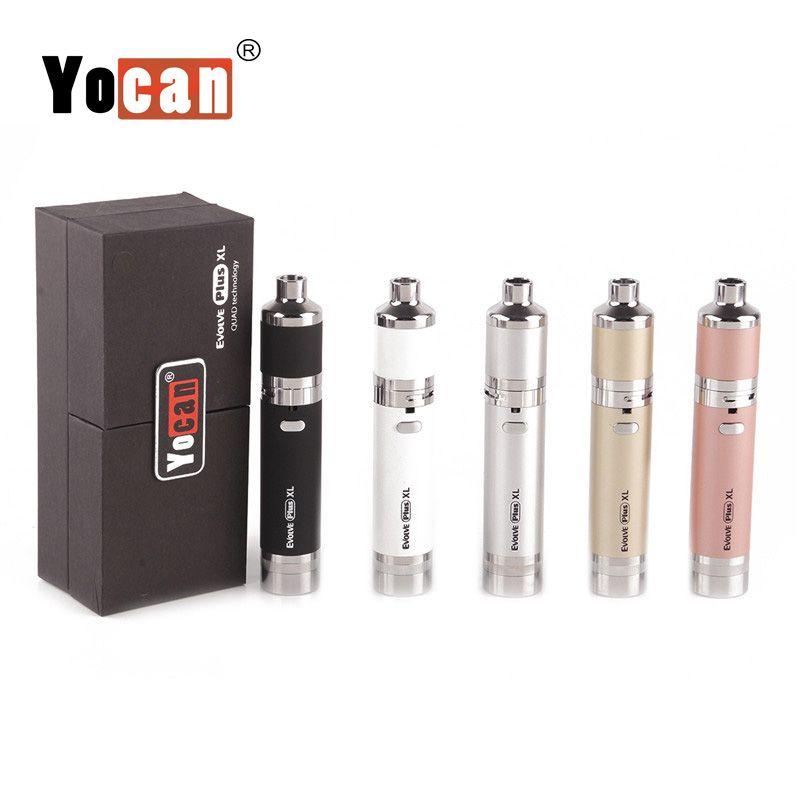 100% originale Yocan Evolve Plus XL Vaporizzatore Kit penna a cera Quad Quartz Bobine 1400mAh Batteria Vape Penne Starter Kit E sigarette