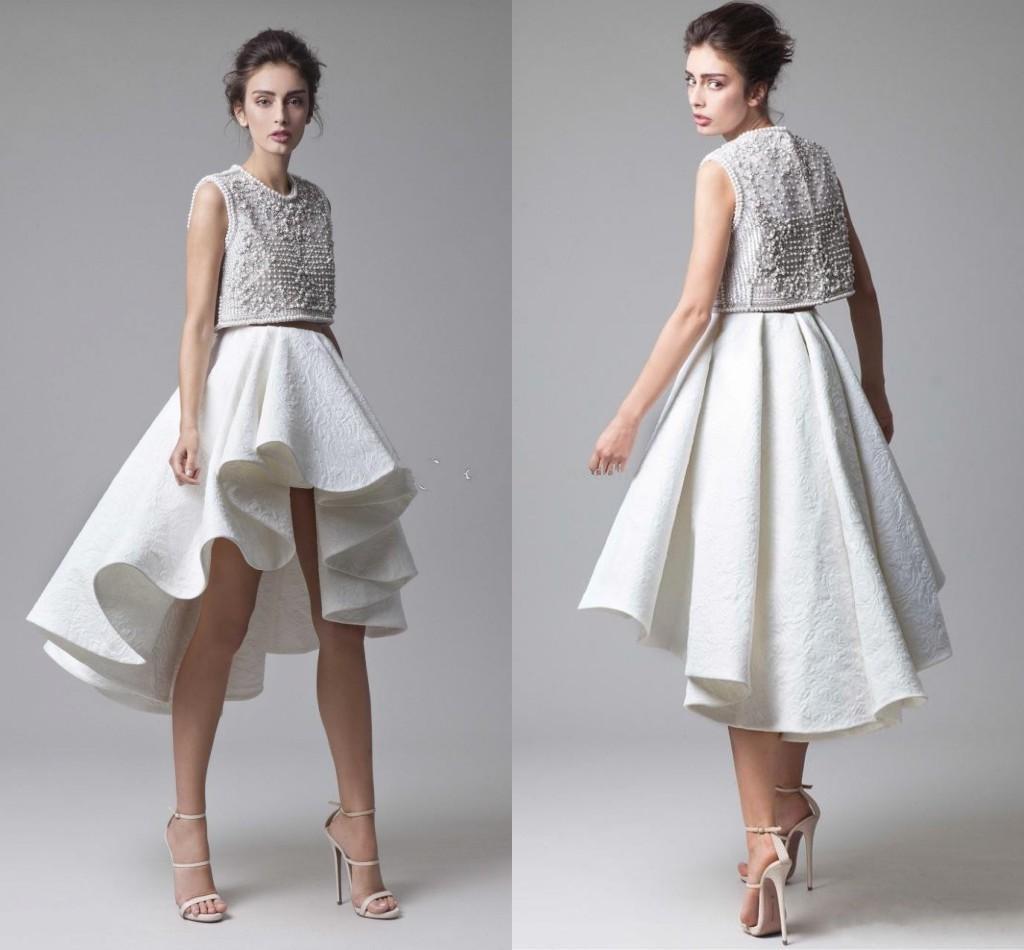 Moda Krikor Jabotian Lace Prom Dresses Beading Corpetto Increspato Gonna asimmetrica Due pezzi bianco da sera Abiti da festa High Low Prom Gown