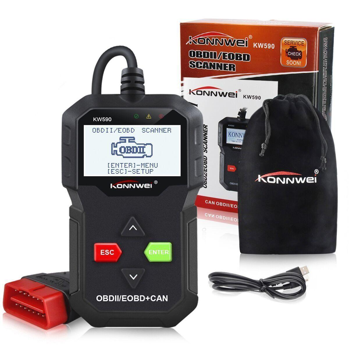 2019 KONNWEI KW590 OBD2 Automotive Scanner OBD ODB2 Car Diagnostic Tool in Russian Code Reader Auto Scanner Better than AD310 ELM327